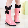 Lace Bow Girls Boots Sweet Mid Calf Children Rain Boots Fashion Winter Cotton Padded Shoes Low Heel Kids Boots TX164