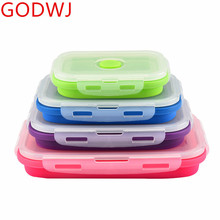 GODWJ 4 Foldable Microwaveable Silicone Lunch Box Sets Rectangle Portable Folding Bento Food Container For Dinnerware
