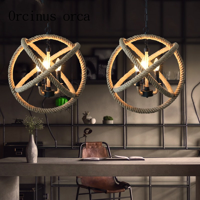 Nordic antique chandelier rope bar lamp loft retro living room creative industrial wind personality spherical rope Chandelier|Pendant Lights| |  - title=