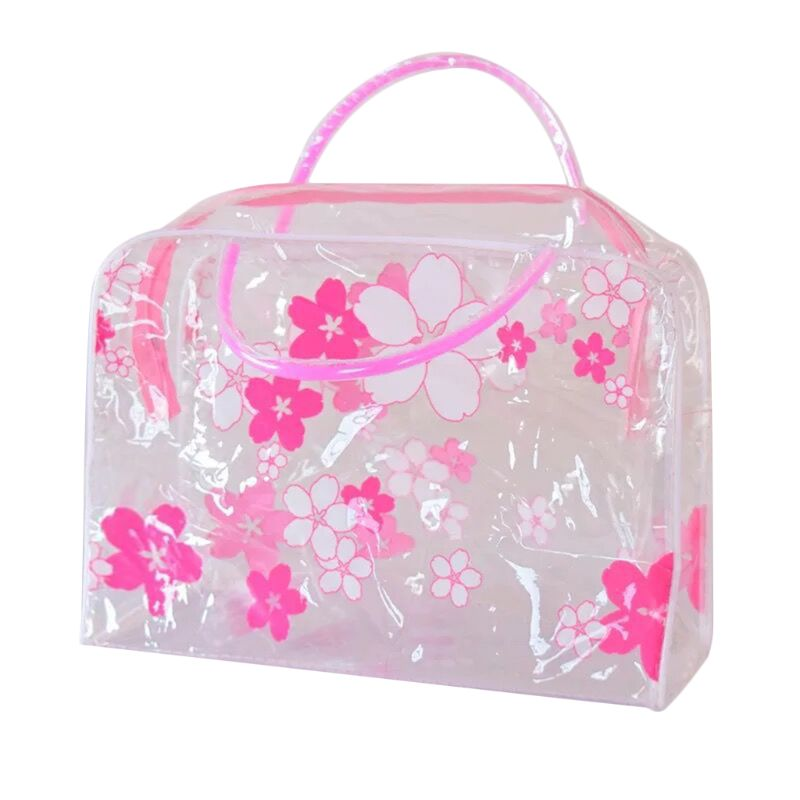 Good Quality New Waterproof PVC Cosmetic Organizer Clear Toiletry Bag Floral Travel Makeup Bags For Women Girls