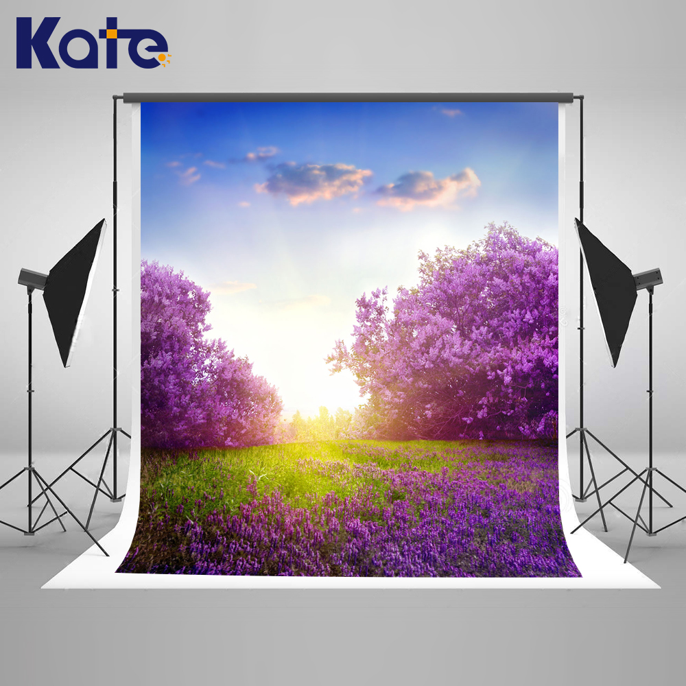 ФОТО Kate Purple Flower Forest Background Spring Photography Backdrops Sunny Blue Sky and White Clouds Background Seamless Photo