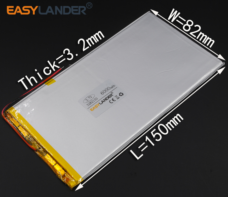 3.2X82X150 ММ 3.7 В 6000 мАч литий-Полимерный Литий-Ионный Аккумулятор Для Питания Банк Tablet PC мобильный Спикер СЕРЕДИНЕ электроники 3282150