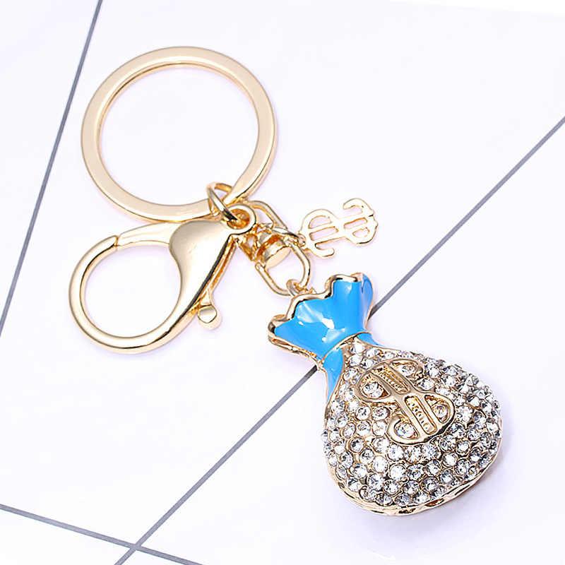 Boosbiy Đẹp Túi Đầy Đủ Pha Lê Rhinestone Key Chain Vàng Chain Keychain Túi Xe Treo Mặt Dây Chuyền Đồ Trang Sức KY077
