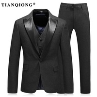 TIAN QIONG Fashion Men's Black Shawl Collar Suit Groom Wedding Dress Slim Male Suit Twinset Business Work Wear Stage Formal
