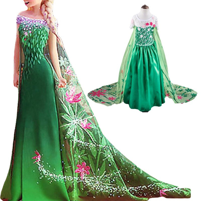 2-7Years Anna Elsa Dress Girls Snow Queen Dress Elsa Anna Costume Kids Halloween Cosplay Princess Dress Girls Summer Party Dress new girls anna elsa dress children s dress sequined princess cinderella fancy kids clothes for party costume snow queen cosplay