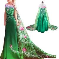 2 7Years Anna Elsa Dress Girls Snow Queen Dress Elsa Anna Costume Kids Halloween Cosplay Princess