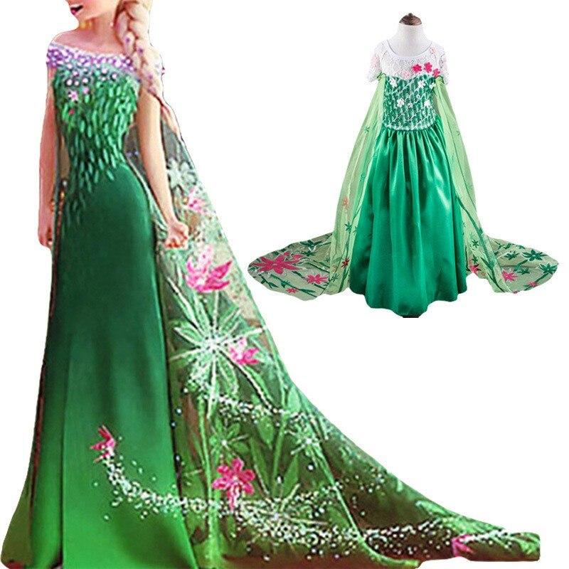 2-7Years Anna Elsa Kleid Mädchen Snow Queen Kleid Elsa Anna Kostüm ...