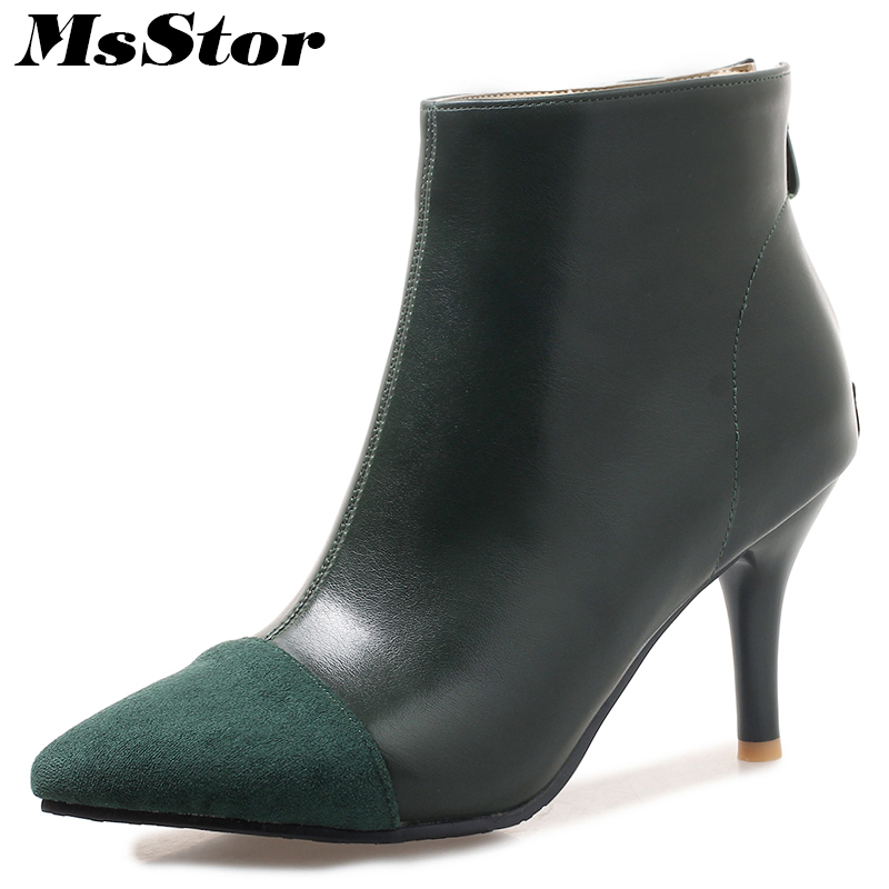 MsStor Plus Size Pointed Toe High Heel Boots Shoes Woman Fashion Zipper Cheap Ankle Boots Women Shoes Thin Heel Women Boots
