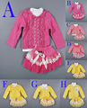 winter Girl Clothing Suit White lace jacket+Tshirt bottoming+Tutu Skirts Princess Set children clothes Female baby clothes brand