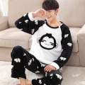 Free shipping Autumn and winter men thickening flannel plus size sleepwear male cartoon coral fleece long-sleeve lounge set 4xl