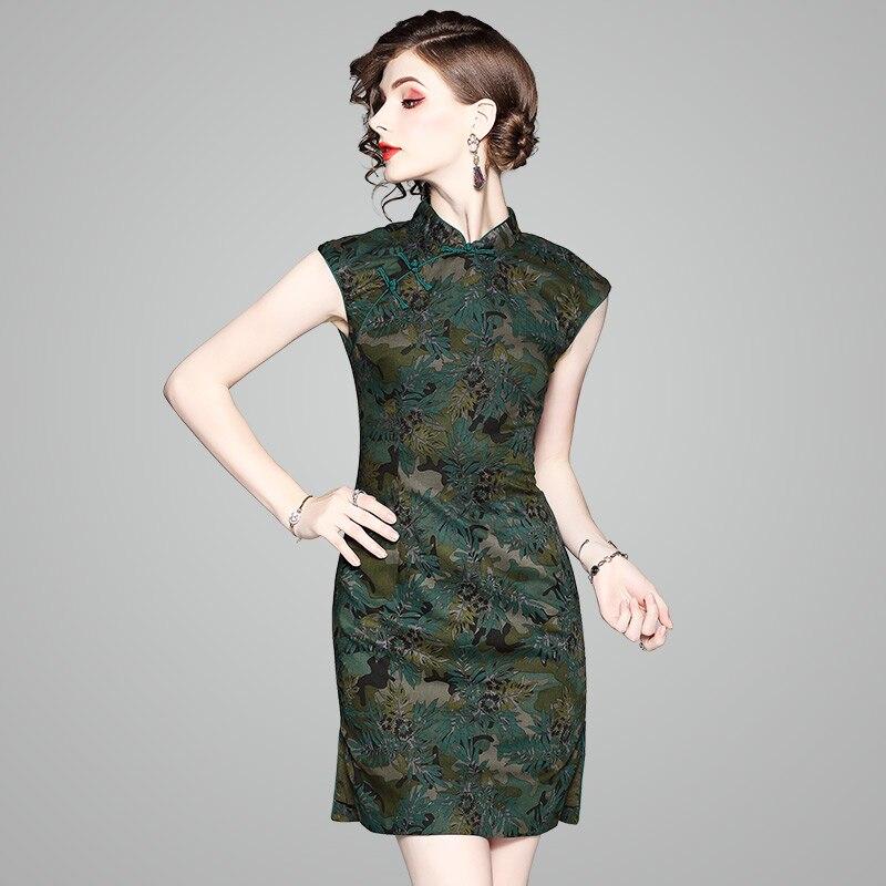 Robe d'été À Manches Courtes Cheongsam Top Qualité Robes Femmes Minces Mini Robe Chine Style Moderne Qipao Vert Femmes Robe