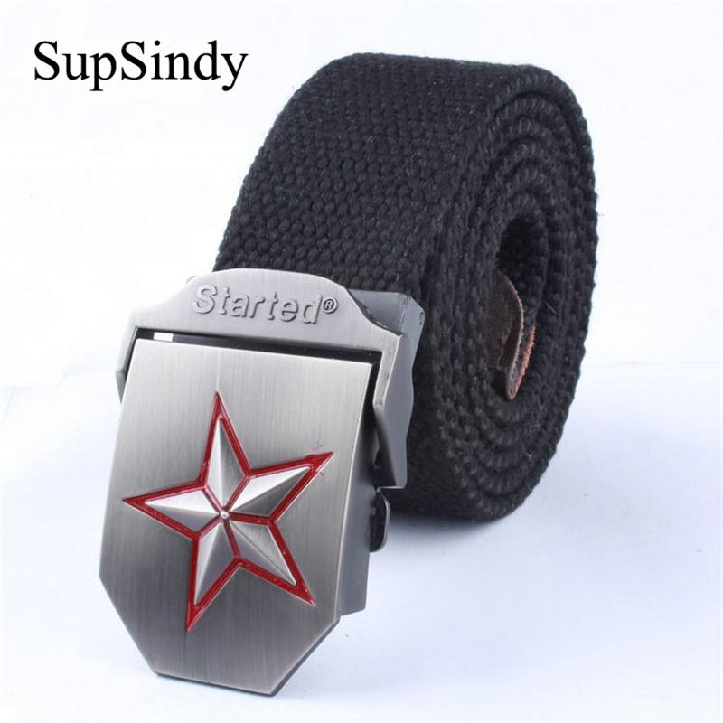 SupSindy Men&Women Canvas   belt   3D-Red Star Buckle Fashion Strong Army Tactical   Belt   mens Top Quality Military   Belts   Luxury Strap
