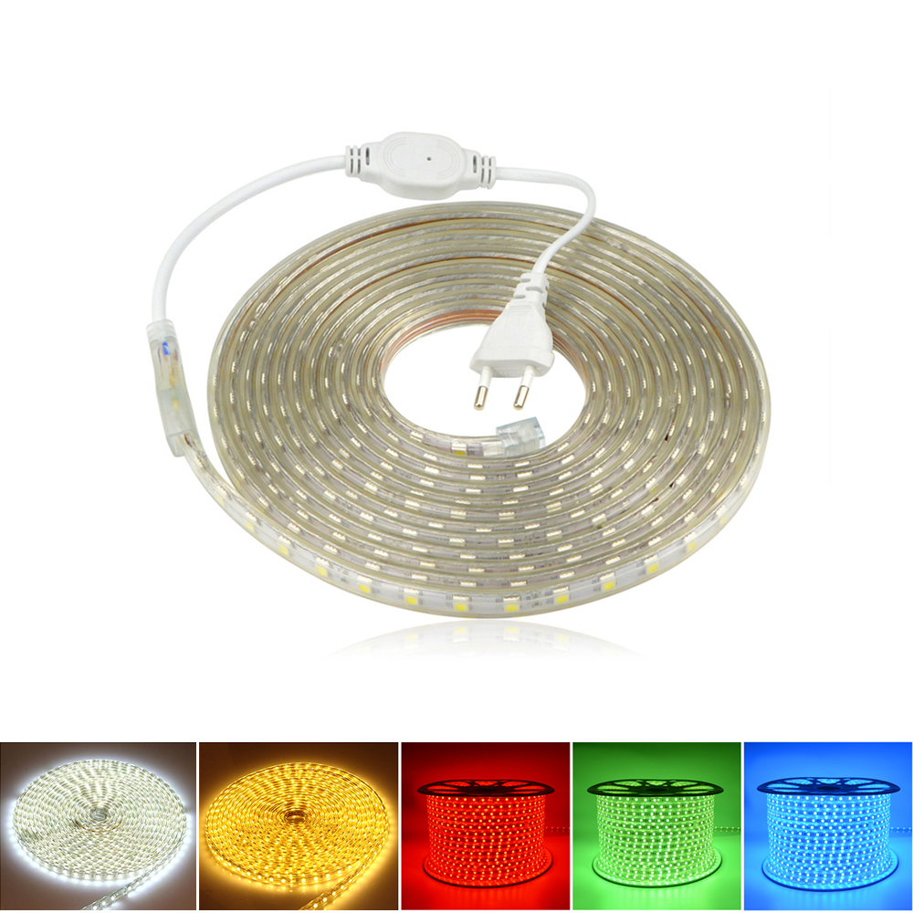 Outdoor Lighting Flexible Outdoor Waterproof Lamp String 220v 5050 60led/m Led Strip Light Diode Neon Ribbon With Eu Plug For Home Decor Lighting