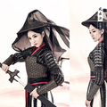 Feng Yun Jue 2016 Spring Costume Exhibition Swordlady Hanfu Costume for Women Chivalrous Women Costume Black Armour with Hat