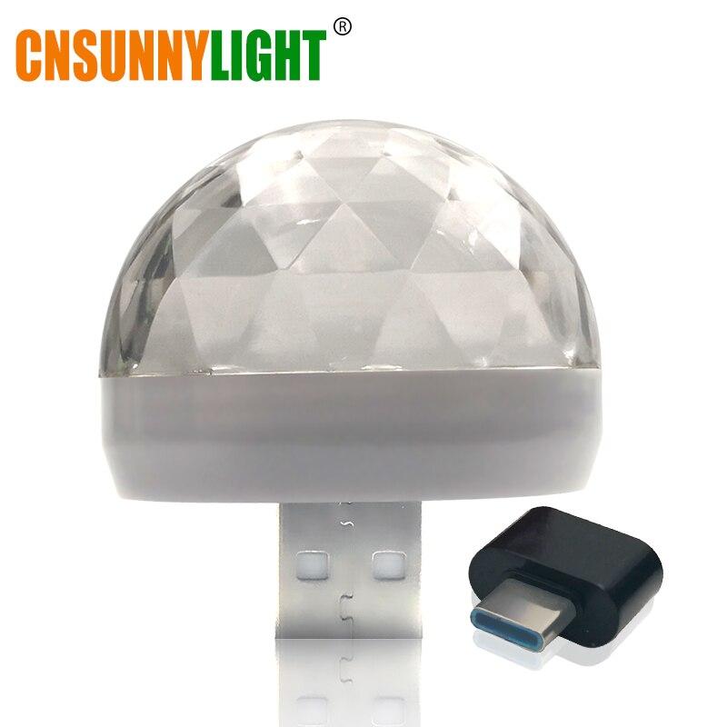 CNSUNNYLIGHT LED Car USB Atmosphere Light DJ RGB Mini Colorful Music Sound Lamp USB-C Phone Surface for Festival Party Karaoke