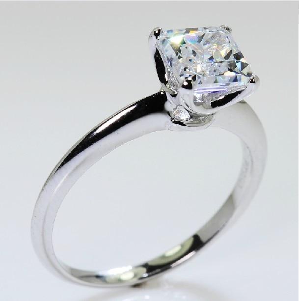 muy genial precios grandiosos mejor elección € 40.82 50% de DESCUENTO Anillo de diamantes sintéticos de corte de  princesa excelente solitario de 1 quilates para mujeres plata de ley lleno  de oro ...