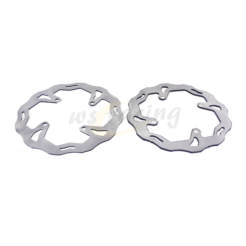 Stainless Steel Front Rear Wavy Disc Brake Rotor Set For KAWASAKI KX125 KX250 06-08 KX250F KX450F 06-15 KLX450R 07-14