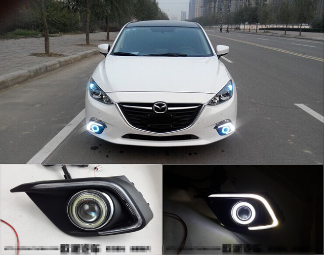 For Mazda 3 Axela 2013 2015 LED Daytime Running Lights DRL Fog Lights + CCFL