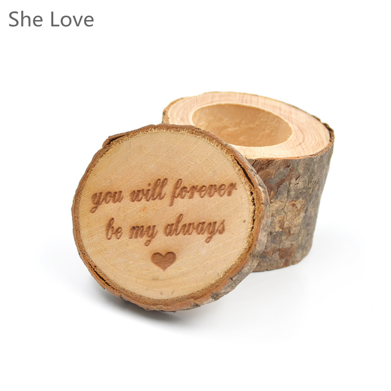 Engraving Wooden Wedding Ring Box Engagement Holder Anniversary