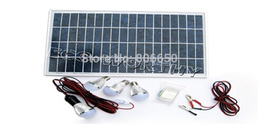 25w solar panel powered LED light solar system, with 3A charge controller and 4 pcs 5w 12v  LED lamps