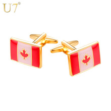 U7 Gold/Silver Color Canadian Flag Cufflinks Men Jewelry Gift Suit Accessories Red Maple Leaf Cufflink Button C1002(China)