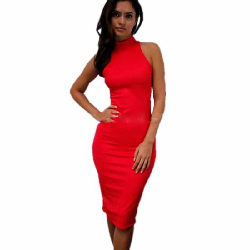 Водолазка сексуальное облегающее платье женские вечерние Клубные платья Холтер Желтый Красный Белый Черный Синий Оранжевый карандаш платье миди Vestido
