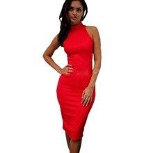 Turtleneck Sexy Bodycon Dresses Woman Party Night Club Dress Halter Yellow Red White Black Blue Orange Pencil Midi Vestido