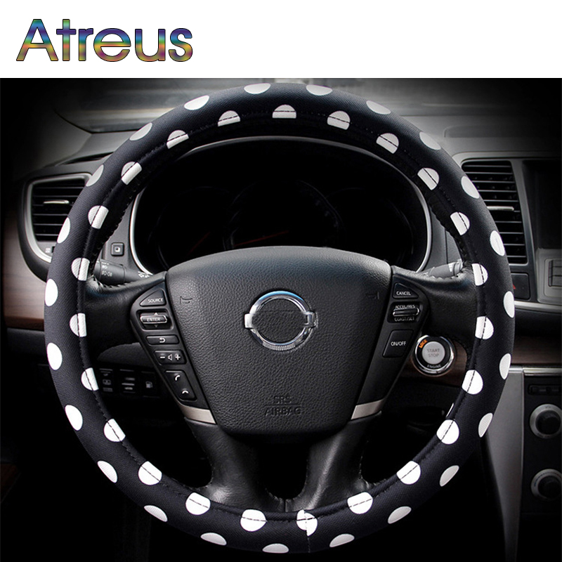 1Pcs Car Steering Wheel Cover Black And White Fashion For