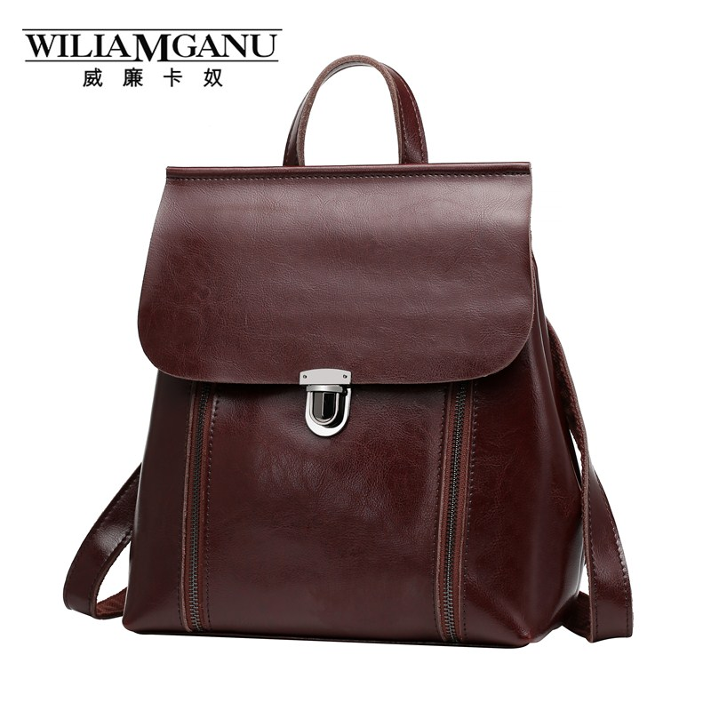 WILIAMGANU brand backpack Women genuine leather Vintage oil wax ipad laptop bag teenage girls school bags travel bags 0790 top grade first layer cow genuine leather backpack men laptop bag vintage oil wax leather backpack women unisex travel tote
