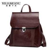 Wiliamganu бренд рюкзак женщин натуральная кожа старинные масло воск IPad сумка для ноутбука для девочек-подростков школьные сумки дорожные сумки 0790