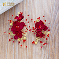 Gorgeous golden hair combs red floral  hairpins crystal hair ornaments pearl bridal hair wear accessories wedding yixuan
