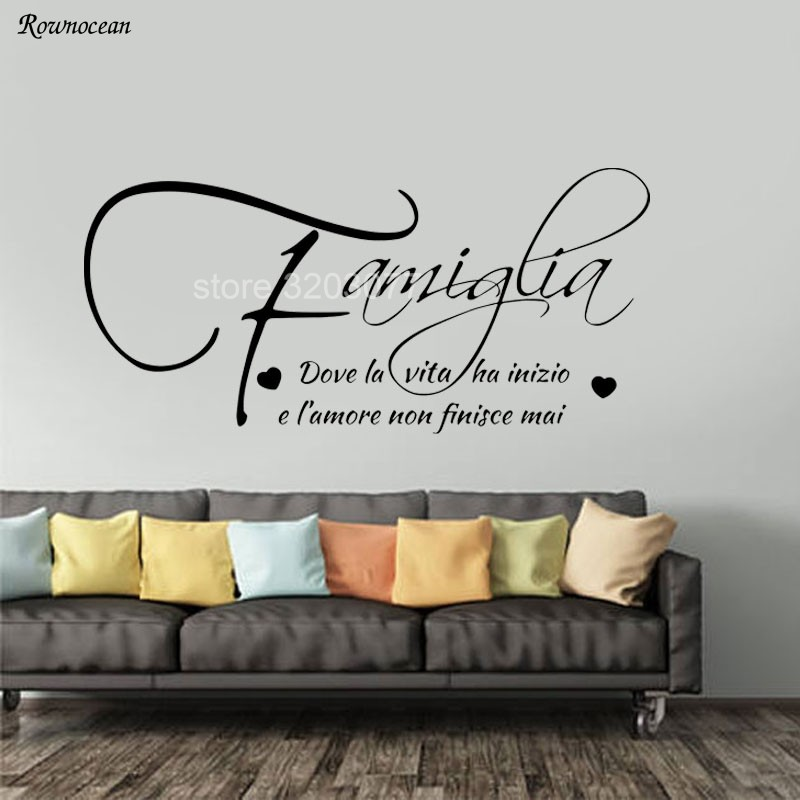 Family Where Life Begins Love Never Ends English Quote Wall Decal Decorative Adesivo De Parede Removable Vinyl Wall Sticker