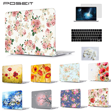 цена на Flowers Print Hard Case Shell Keyboard Cover LCD Film For Macbook Pro 13.3 /15.4