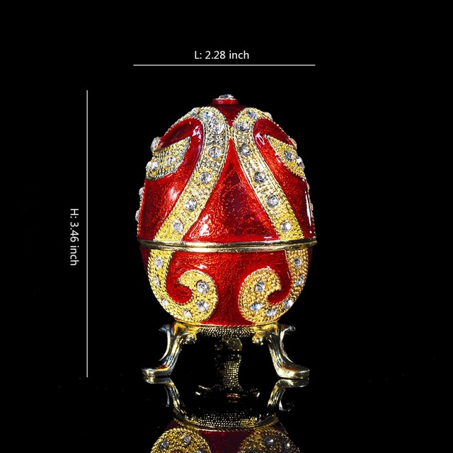 QIFU new fashion Easter metal crafts gifts red Faberge egg trinket box egg  shaped jewelry box for women a48ee975d636
