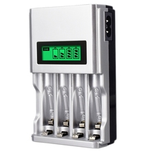 Four Slots Lcd Smart Battery Charger For Aa Aaa Rechargeable Battery Ni-Mh Ni-Cd Aaa Aa Rechargeable Batteries(Eu Plug)