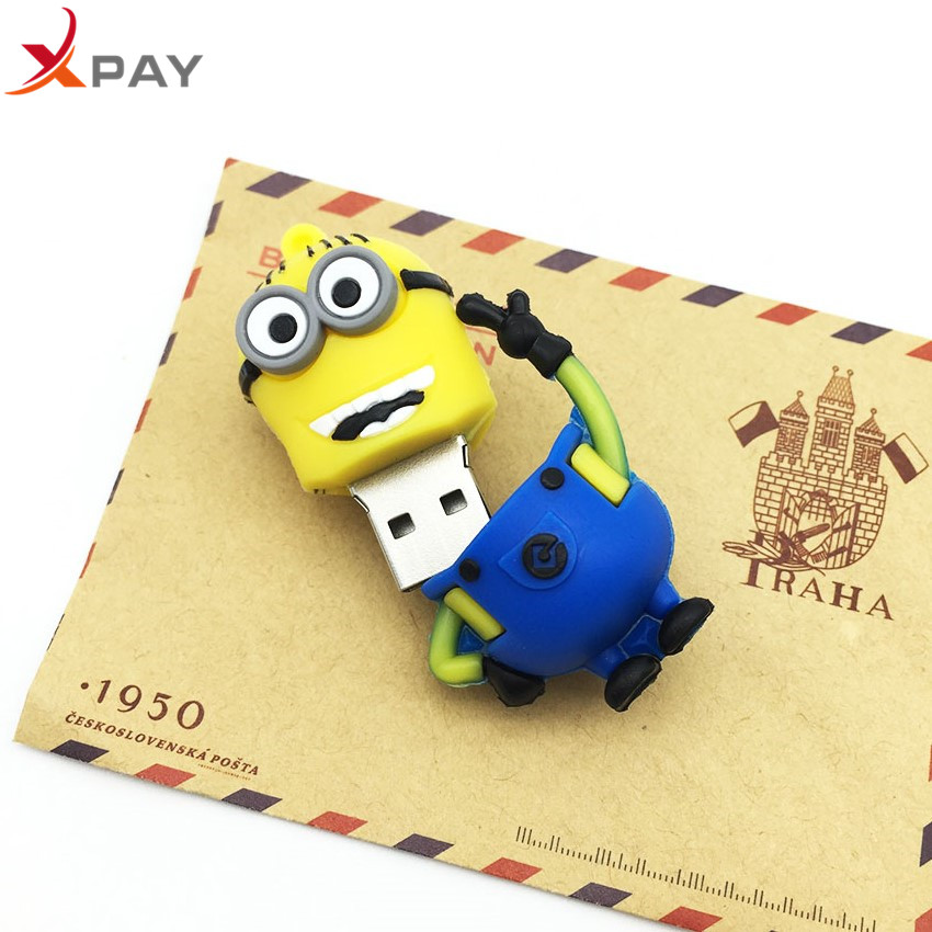 Image 3 - Usb Flash Drive Cute Cartoon Little Yellow Man USB 2.0 Pendrive 32GB Pen Drive 4GB 8GB 16GB 64GB Usb Stick 128GB Free Shipping-in USB Flash Drives from Computer & Office