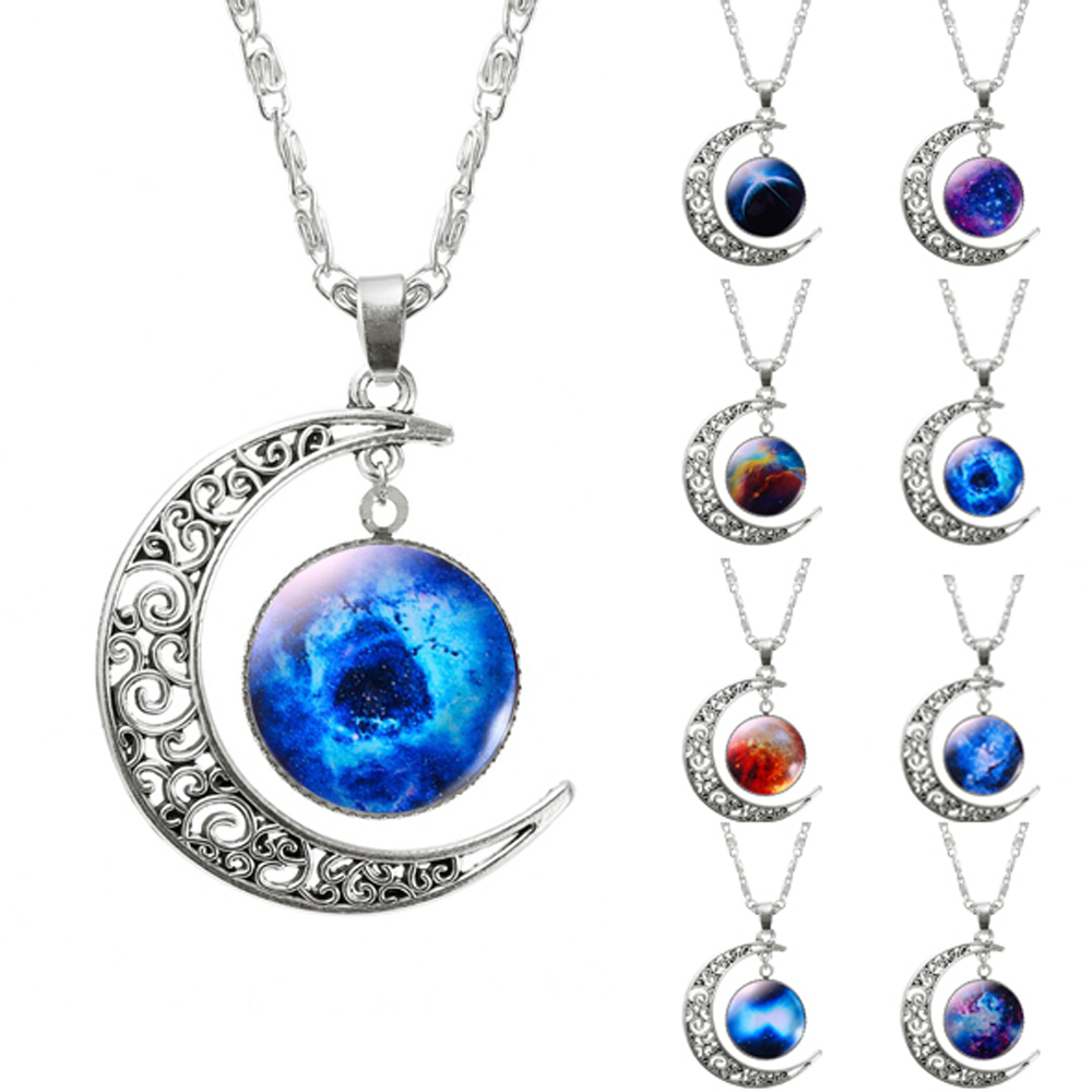 fashion hollow moon glass galaxy statement necklace with