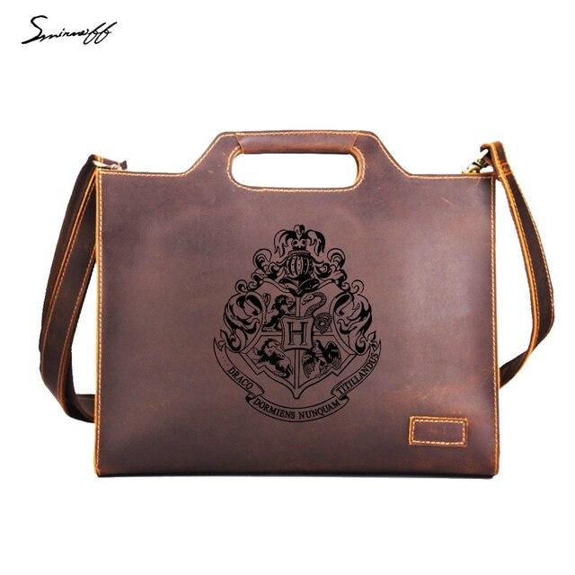 Harry Potter Leather Handbags Men Business Briefcase Custom Name Messenger bags Hogwarts School Badge Vintage ipad Bags