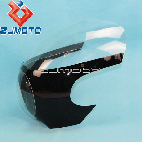 """Мотоциклетный головной светильник обтекатель маска передний светильник козырек 5 3/"""" головной светильник обтекатель для Sportster 883 1200 Dyna 39 мм вилка - Цвет: Glossy Black Clear"""