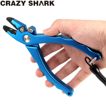 CrazyShark Aluminium Fishing Pliers Hook Remover Scissors Line Cutting Tools 180mm For Freshwater / Saltwater