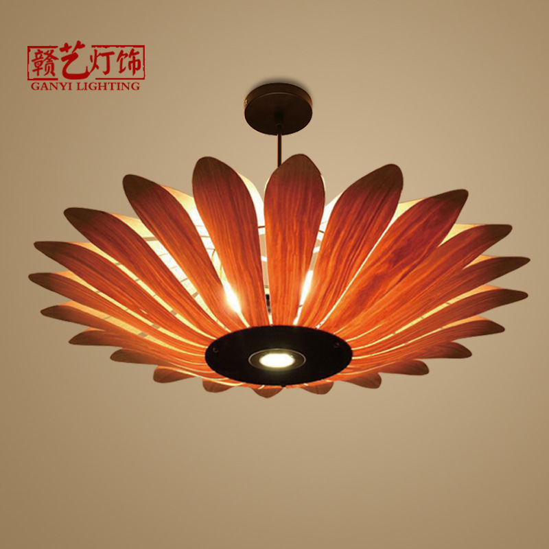 lamp, living room bedroom lamp, Southeast Asia wooden skin lamp restaurant, restaurant, tea house, wooden chandelier.