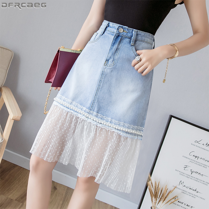 New Row Beadsjupe Tulle Femme Splice Djeans Skirt Four Pocket White Point High Waist Denim Skirts Lace Edge Skirt Saia Midi pocket