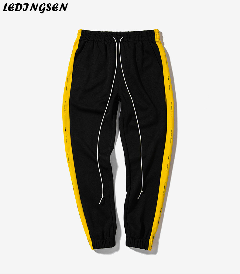 LEDINGSEN Spring Fashion New Black Stripe Sweatpants Men Green Sweat Pants Hip Hop Streetwear Trackpants Swag Track Pants