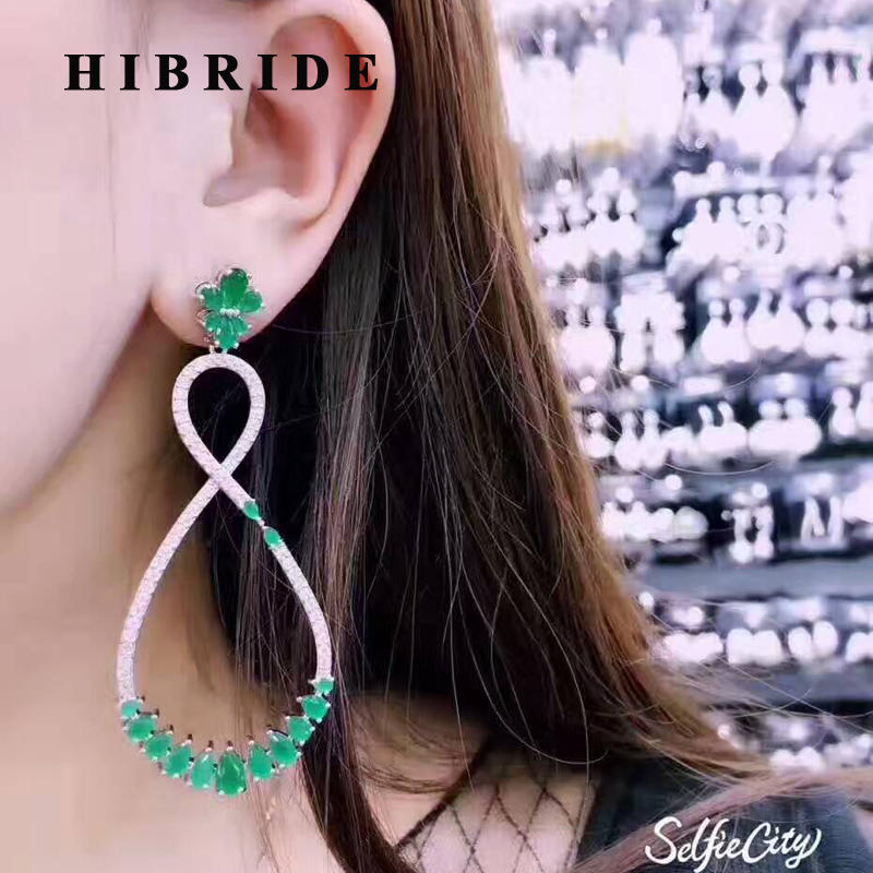 HIBRIDE European Classic Style Big Flower Pendant Long Earring For Women White Green CZ Stone Drop Earrings Jewelry E 456