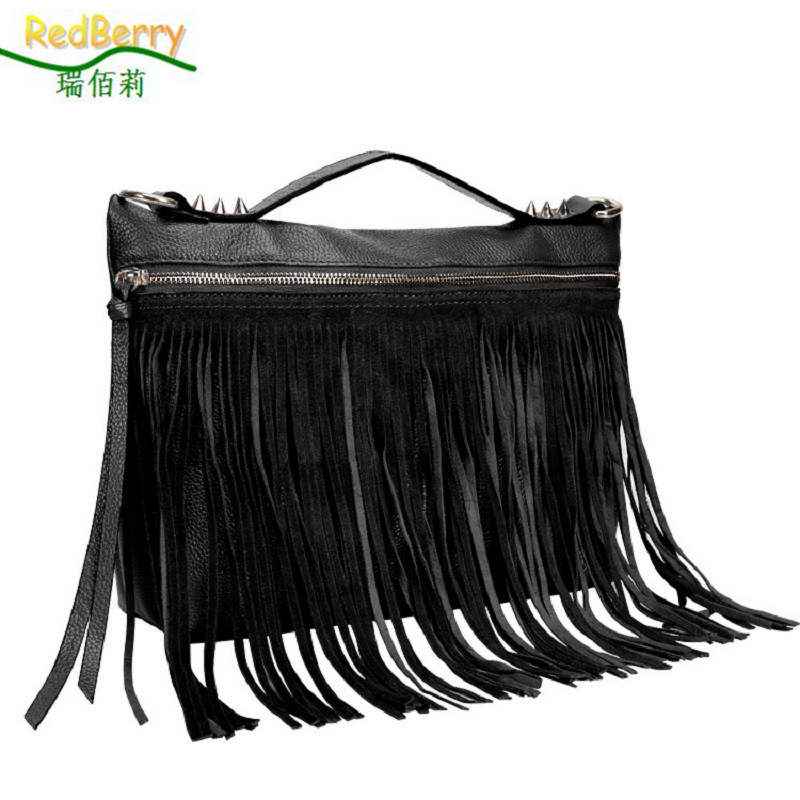 Famous Brand Women Bag 100% Genuine Leather Elegant New Fashion Bolsa Messenger Bag Shoulder Casual Tassel Ladies Luxury Handbag