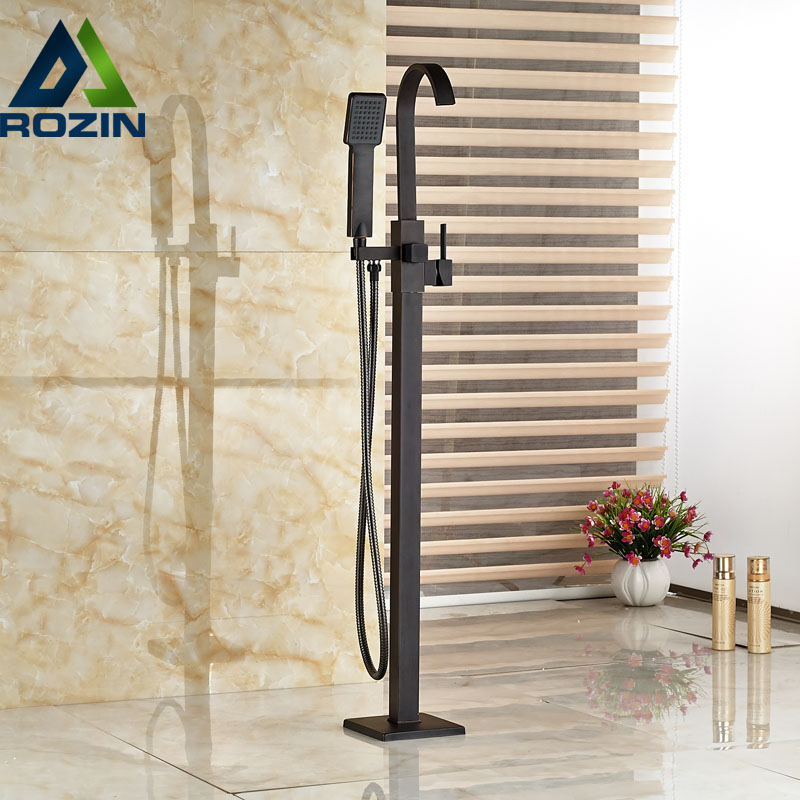 Oil Rubbed Bronze Waterfall Tub Mixer Faucet Free Standing Floor Mount Bathtub Faucet with Handshower oil rubbed bronze waterfall tub mixer faucet free standing floor mount bathtub faucet with handshower