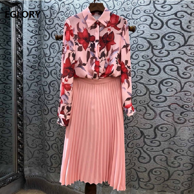 Top Grade Designer Clothes Suit & Sets 2019 Spring Summer Suits Women Floral Print Shirt+Pleated Pink Skirt Set Female Suits