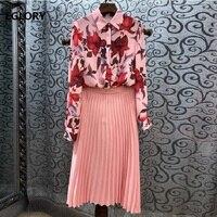 Top Grade Designer Clothes Suit & Sets 2019 Spring Summer Suits Women Floral Print Shirt+Pleated Pink Skirt Set Female Suits