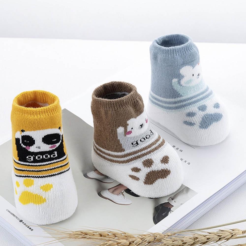0-3years Cartoon Bär Baby Socken 3 Paar Weiche Neugeborenen Winter Indoor Baumwolle Dicke Lose Mund Herbst Boden Socke