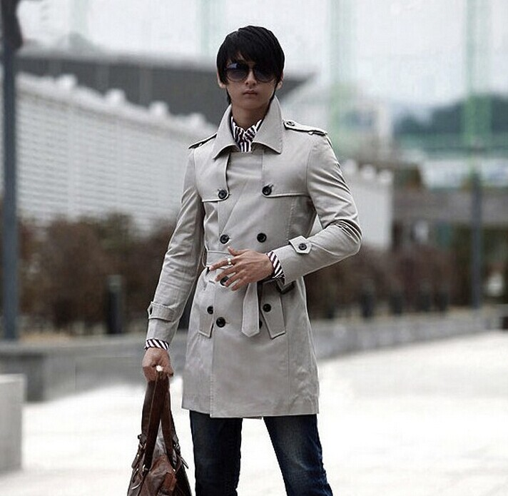 Grey Men's clothing 2017 autumn jacket casual outerwear thin long coat men spring and autumn mens trench coat for men overcoat